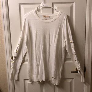 MICHAEL MIchael Kors White Laced Sweater L